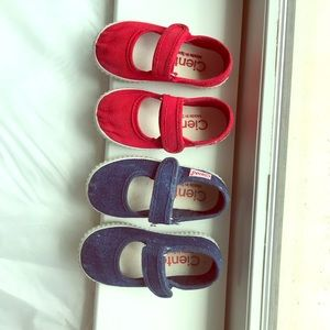 Cienta Mary-Janes size 20, denim blue and red
